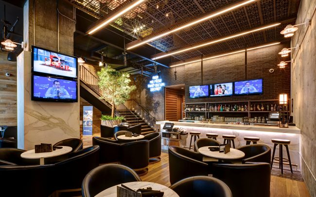 interior design of moxies restaurant in montreal
