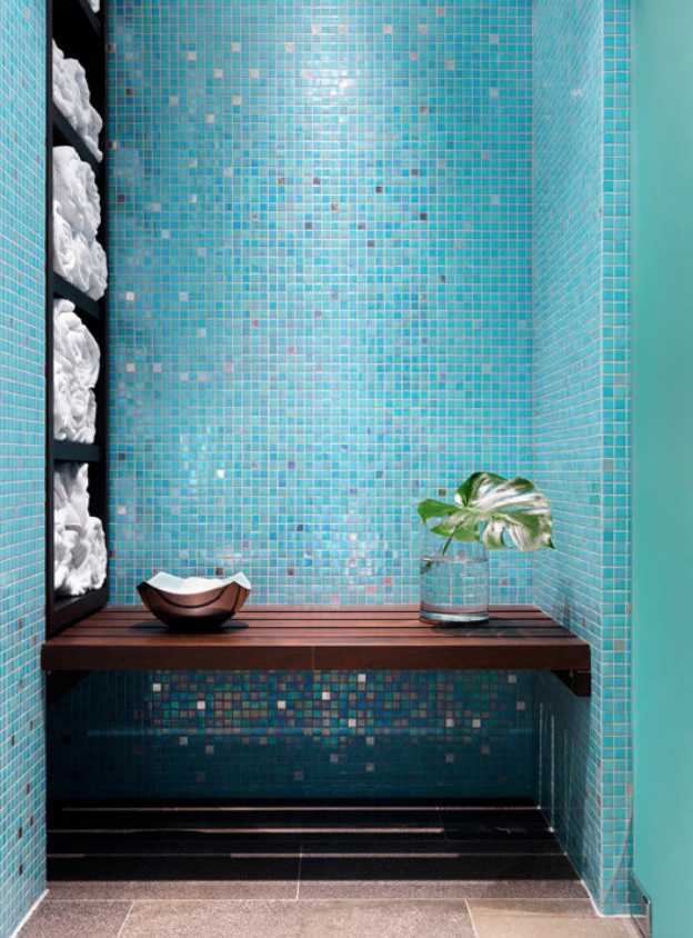 Azure tiling in bathroom